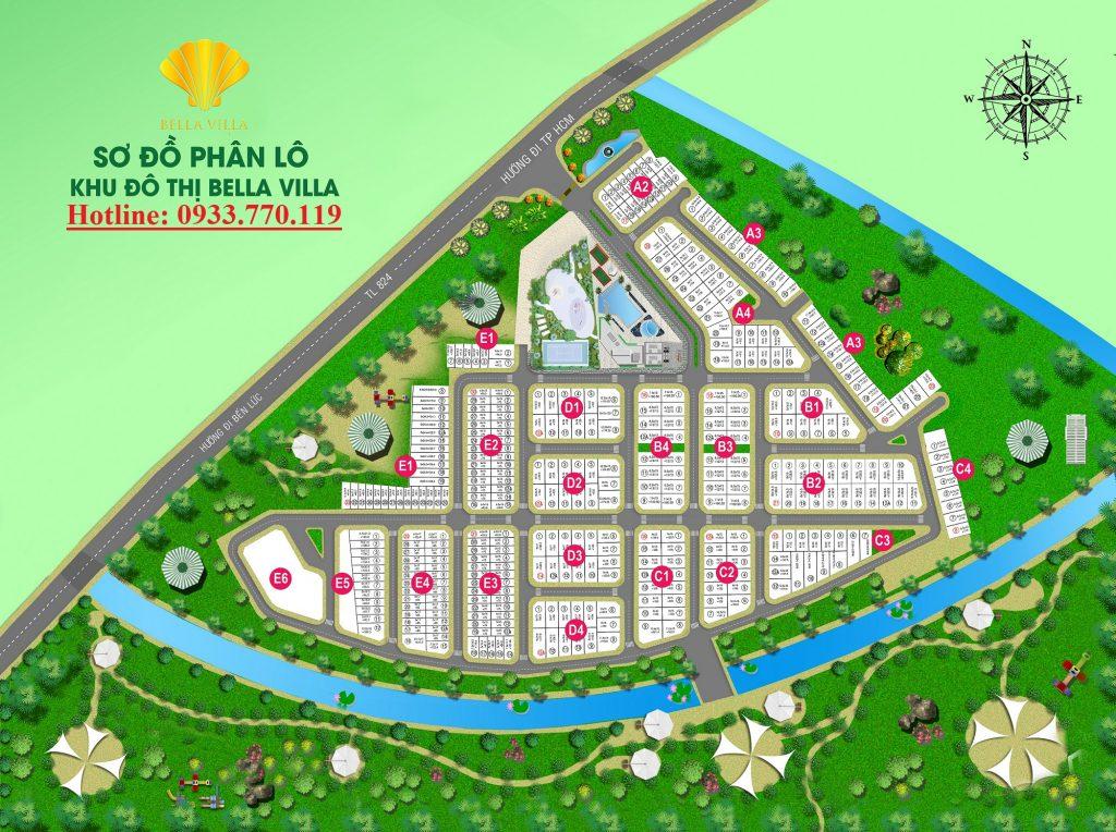 Sơ đồ tổng thể Bella Villa Đức Hòa - Trần Anh Group (Click vào ảnh xem kích thước lớn)