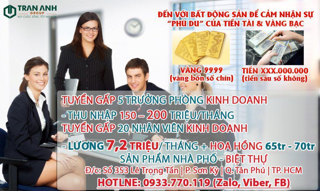 Tuyển Nhân Viên Kinh Doanh thu nhập cao tại Tân Phú