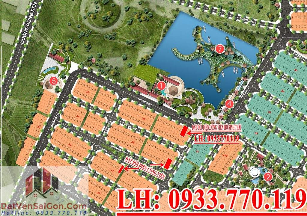 Bán đất đường Rừng Sến đối diện công viên hồ sinh thái gần dự án Cát Tường Phú Sinh - Công viên 7 kỳ quan thế giới – LH:0933770119