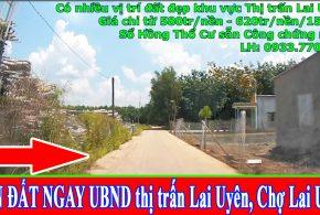 Bán đất gần trường THCS Lai Uyên, đất gần chợ Lai Uyên, thị trấn Lai Uyên, Bàu Bàng, Bình Dương